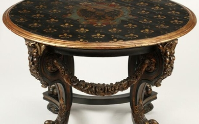 Swiss Style Carved Ebonized Center Table