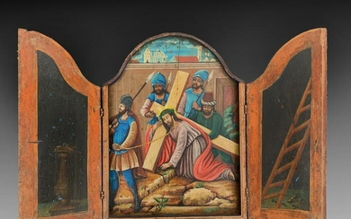 TRI PANEL OIL PAINTING OF CHRIST BEARING THE CROSS