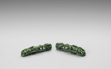 TWO SPINACH GREEN JADE 'DRAGON' BELT HOOKS, LATE QING