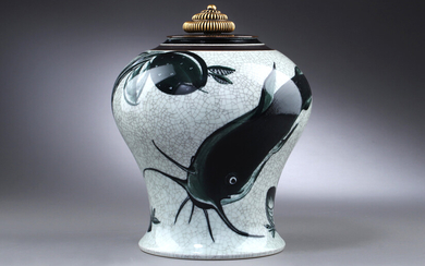 Thorkild Olsen and Knud Andersen for Royal Copenhagen. Lidded porcelain vase with bronze lid