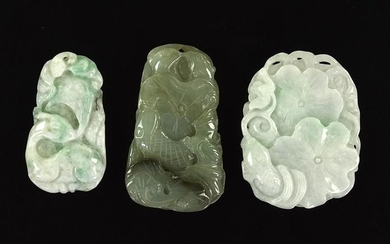 Three Chinese Carved Jadeite Pendants.