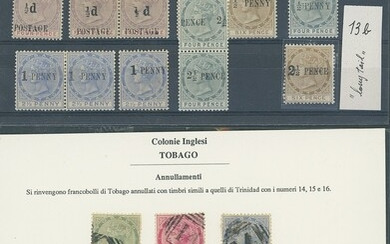 Tobago 1885-96 mint and used selection on stockcards including 1885-96 with values to 1/- mint...