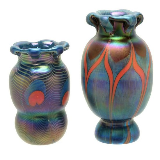 Two Tiffany Style Pulled Feather Vases.