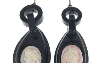 Two pairs of late 19th century gem-set earrings.