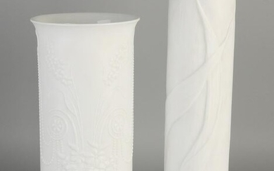 Two white German porcelain vases with floral