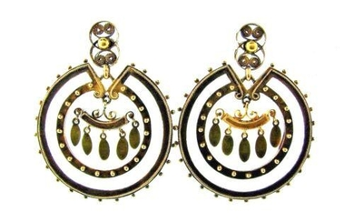 UNIQUE Victorian 14k Yellow Gold Earrings Circa 1900s