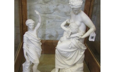 """VICTORIAN PARIAN, figure group """"Cupid Betrayed"""", 17"""" height,..."""