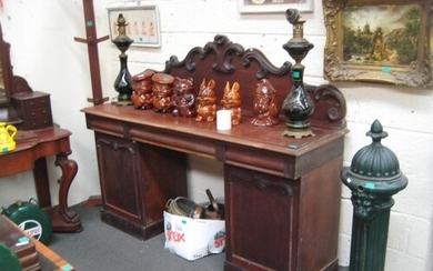 Victorian Mahogany Pedestal Sideboard with Gallery back