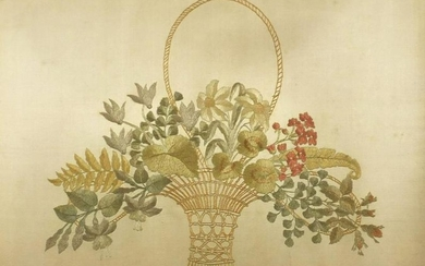 Victorian silkwork embroidered panel by M A Ward,