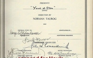 Vintage Original Document Signed by 28 members of Cast and Crew, from the director's personal archive (Norman Taurog)