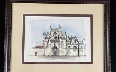 Water Color And Ink of The Monastery Of Batalha by