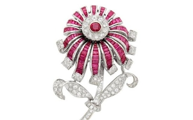 White Gold, Ruby and Diamond Flower Brooch