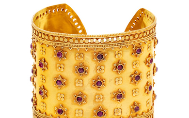 YELLOW GOLD AND RUBY CUFF BRACELET