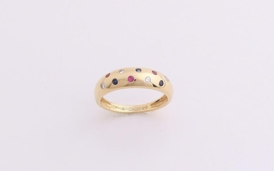 Yellow gold ring, 750/000, with ruby ??sapphire and