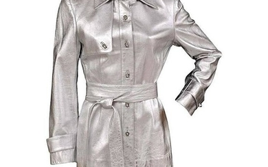 Zang Toi Silver Leather Jacket Trench Coat With Crystal