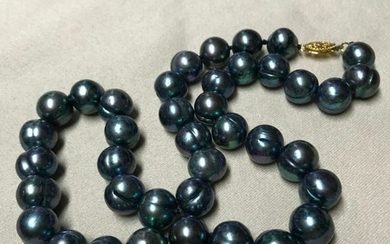 """11-12mm Dyed, Flawed, Silver Gray Pearls 18"""" Necklace"""