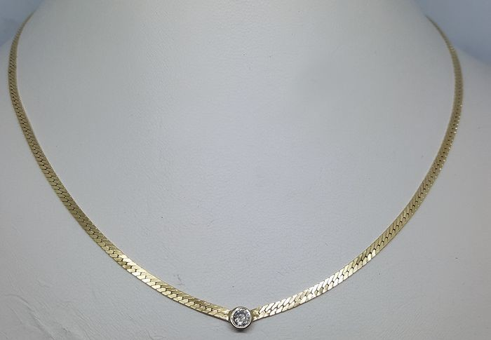 14 kt. White gold, Yellow gold - Necklace with pendant - 0.24 ct Diamond