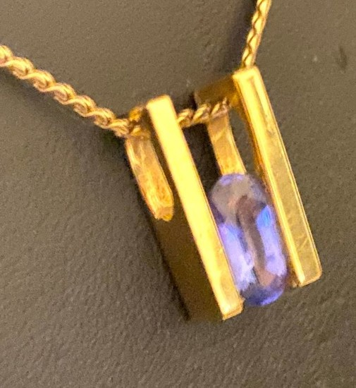 14 kt. Yellow gold - Necklace with pendant Tanzanite