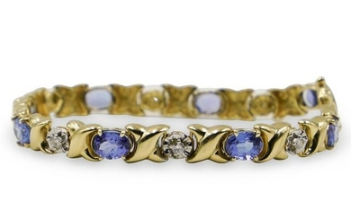 14K Gold Diamond and Amethyst BraceletÂ