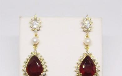 14k Gold Ruby Earrings with Natural Diamonds and