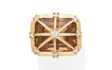 A citrine and diamond ring,