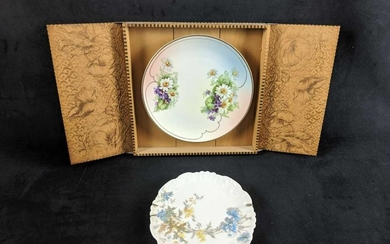 Lot Of Two Hanging Hand Painted Porcelain Plate Art