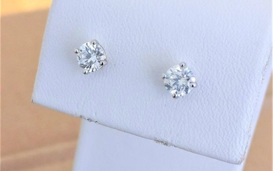 18 kt. White gold - Earrings - 0.88 ct Diamond