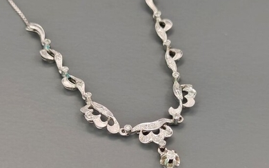 18 kt. White gold - Necklace - 0.24 ct - Diamonds