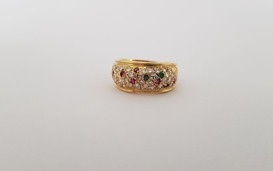 18 kt. Yellow gold - Ring - 0.60 ct Diamond - Emeralds, Ruby, Sapphire