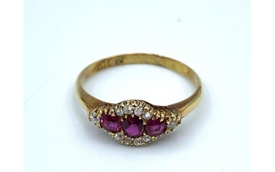 18ct yellow Gold antique Ring, having Rubies to centre and D...