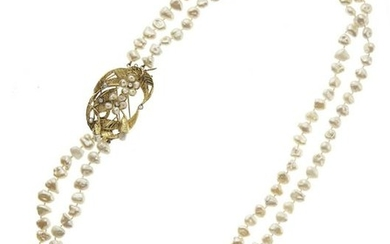 18kt yellow gold, pearls and diamond necklace