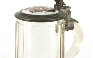19th century cut glass stein with pewter lid, housing