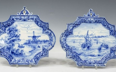 (2) DUTCH BLUE & WHITE FAIENCE WALL PLAQUES 18TH C