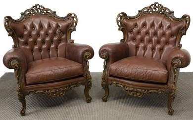 (2) LOUIS XV STYLE CARVED LEATHER ARMCHAIRS