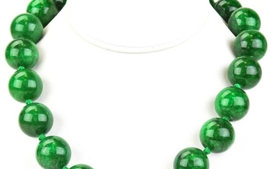 20mm Green Nephrite Jade Beaded Necklace Strand