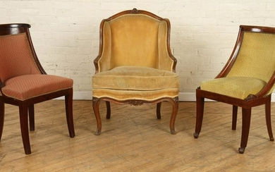 FRENCH WALNUT BERGERE CHAIR AND TWO SIDE CHAIRS