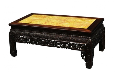 A Chinese hardwood low table, kang, late...
