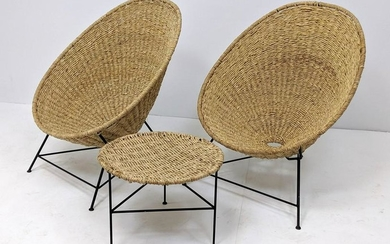 3pc Modernist Woven Rush Iron Hoop Chairs Side Table. B