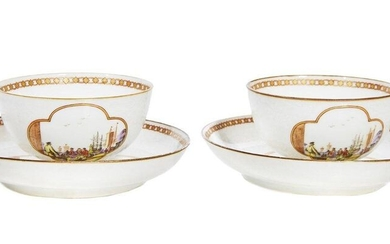 """79-China/Compagnie des Indes: two bowls and their displays in """"eggshell"""" porcelain. They each feature port landscapes painted in the Meissen style. The bottom of the pieces decorated with plants in """"bianco sopra bianco"""". Mid 18th century."""