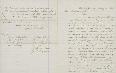Jefferson Davis, Clerk-Signed Copy of Letter Addressing
