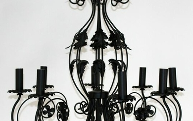 8 arm black iron chandelier with acanthus detail