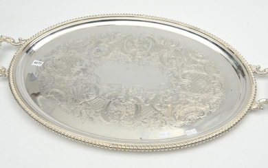 A 19TH CENTURY W DRUMMOND & CO SILVERPLATE TWO HANDLED SERVING TRAY OF GENEROUS PROPORTION IN FINE CONDITION W.69CM