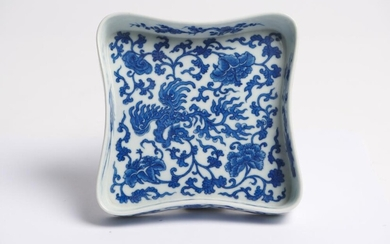 A CHINESE BLUE AND WHITE SWEETMEAT DISH QING DYNASTY (1644-1912)