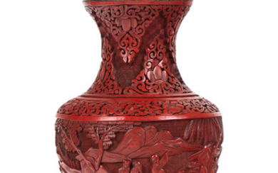 A CHINESE CARVED CINNABAR LACQUER VASE, 18TH-19TH CENTURY
