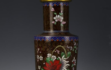 A Chinese Flower Brown Cloisonne Rouleau Vase