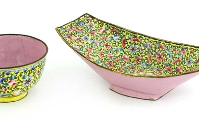 A Chinese painted enamel tea bowl and tray