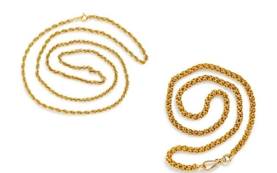 A Collection of 14 Karat Yellow Gold Necklaces,