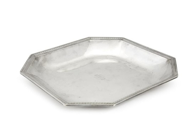 A Continental silver octagonal serving dish 19th century Engraved...