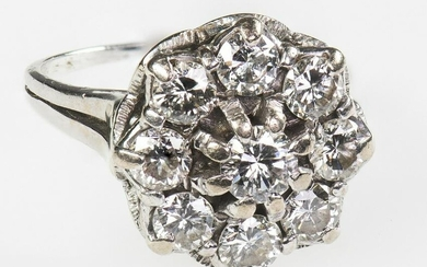 A DIAMOND CLUSTER RING, 1975 The tiered cluster of