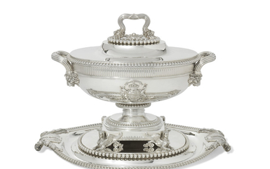 A GEORGE III SILVER SOUP-TUREEN, COVER AND STAND, MARK OF PAUL STORR, LONDON, 1805